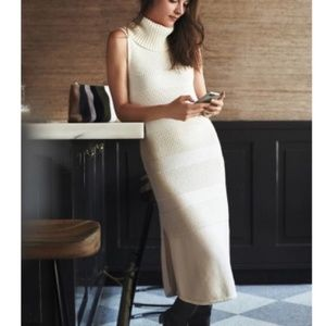 Anthro Turtleneck Sweater Dress Moth Ribbed Sleeve